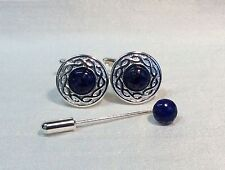 Cufflinks with LAPIS LAZULI Stone and matching Cravat/Tie Pin. Silver finish.