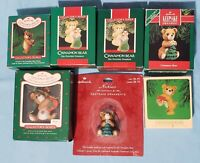 Lot of 7 ~ Cinnamon Porcelain Bears ~Hallmark Keepsake~ 6 Ornaments, 1 Necklace