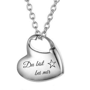 ID Herz Asche Medallion + Kette mit Gravur nach Wunsch Urne Memorial Anhänger