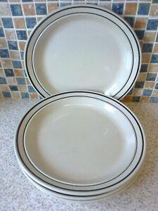 4 X STONEWARE DINNER PLATES DARK BROWN LINES AROUND THE BORDER