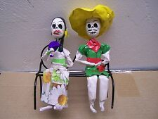 Day of the Dead Papier Mache Skeleton Couple on Park Bench #1 - Mexico