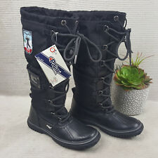 Pajar GRIP Women's Waterproof Tall Black Lace Up Winter Boots Sz 5.5 EU 36