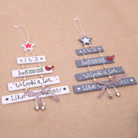 Christmas Tree Shape Letters Wooden Pendant Xmas Decor Bauble Gift Accessories