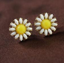 Boucles d`Oreilles Stud Fleur MARGUERITE Jaune Blanche Soirée Mariage NN 2