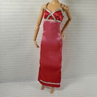 EVENING W ~ DRESS ~ MATTEL BARBIE DOLL PINK SATIN HOMBRE GOWN ACCESSORY CLOTHING