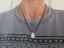 Opalite Choker Necklace Surfer Gemstone Black Cord Adjustable Knotted Boho