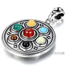 Tibetan Stainless Steel Mantra Mandala Om Symbol Pendant Necklace Men's Women's