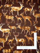 Deer Doe Buck Brown Cotton Fabric Timeless Treasures Katie C5507 By The Yard
