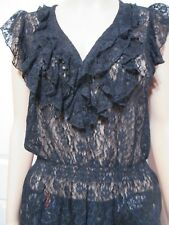 LADIES VALLEY GIRL SLEEVELESS BLACK LACE SEE THROUGH BLOUSE SIZE LARGE