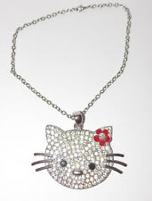 Hello Kitty Necklace 4in Wide Cat Pendant Crystal Pink Flower Silver Oversized