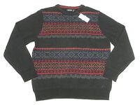 $98 NWT NEW Mens Nautica Color Block Fair Isle Knit Crewneck Sweater Navy N288