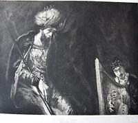 REMBRANDT Eau Forte de DECISY Circa 1884 SAUL et DAVID
