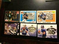 🏈 Peyton Manning,Brees,Favre,Eli ,Tom Brady 6 Football Mint cards-Free Shipping