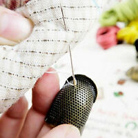 Brass Metal Finger Sleeve Thimble Hoop Sewing Ring Adjustable Household Women