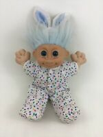 """Russ Berrie Troll Kidz Blue Haired 12"""" Plush Stuffed Doll Toy with Bunny Outfit"""