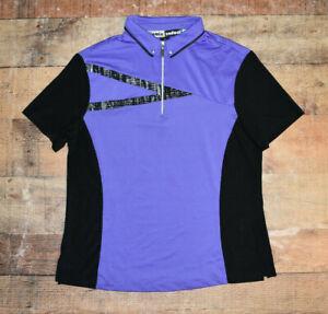 Jamie Sadock Top Short Sleeve Polo Shirt Women Medium Purple Black 1/4 Zip EUC