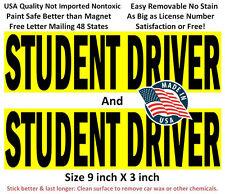2 Premium Student Driver sign bumper stickers for new driver, not magnet