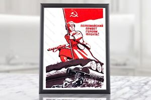 MAY DAY Vintage Soviet Propaganda Poster Red Communist Great Patriotic War Decor