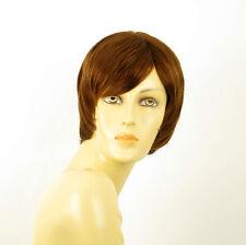 perruque femme 100% cheveux naturel châtain clair cuivré ref LAETITIA 30