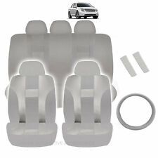 NEW ALL GRAY POLYESTER SEAT COVERS & STEERING COMBO 12PC SET FOR CARS 2321