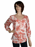 NEW NEXT LADIES ORANGE CREAM FLORAL PRINT SUMMER BLOUSE TOP 8 10 12 14 16 18