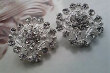 Rhinestone Silver Metal  Buttons 10 Pieces 19 mm Bridal Embellishment.