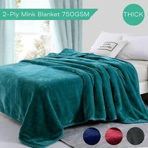 750GSM Mink Blanket Queen 2-Ply Faux Winter Warm Soft Quilt Fleecy Throw 210x240
