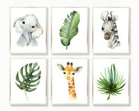 Safari Nursery Wall Art Set of 6 Prints, Zebra Elephant Giraffe Tropical Leaves