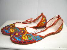 Ballerinas, Knöchelriemen, Leder bestickt, orientalisch Gr. 39 orange
