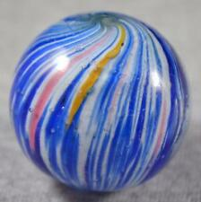 "BIG OLD GERMAN ONIONSKIN MARBLE > 1 5/16"" (1.325"") Blue & Wh w/YW & PINK Streaks"