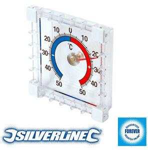 Silverline Indoor Outdoor Thermometer Stick on Wall Door Garden Greenhouse Home