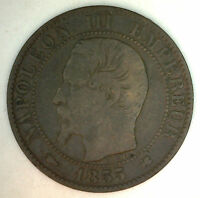 1855 K France 5 Cent Centimes Bronze French Coin Circulated