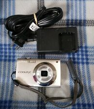 Nikon COOLPIX S4000 12MP Digital Camera w/ Touchscreen - Silver - Batt Charger