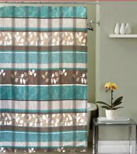 Aqua Blue Fabric Shower Curtain Primitive Striped Floral Design 70 By 72