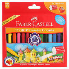 KIDS PRODUCTS COLORS FABER CASTELL 12 GRIP ERASABLE CRAYONS