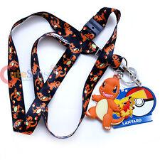 Pokemon Lanyard Keychain ID Holder Charmander All Over Prints with PVC Dangle