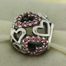 Authentic Pandora 791424CZS Falling In Love Pink Hearts Mother's Day Bead Charm