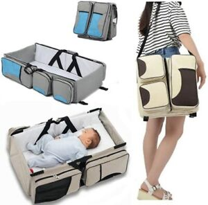 3 In1 Travel Mummy Baby Bag Portable Bed Diaper Bag Changing Station Infant Crib