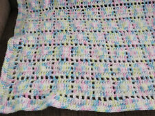 Beautiful Handmade Crochet Blanket Throw Afghan 34x46- pink, blue, yellow, white
