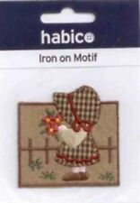 Habico Iron on Motif Patch Girl in Garden Flowers Child Embellishment 60mm