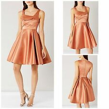 NEW COAST AMORE DRESS SATIN FIT & FLARE CARAMEL OCCASION PROM SIZE 6 - 18