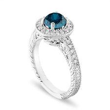Enhanced Blue Diamond Engagement Ring Platinum, 1.29 Carat Certified Handmade