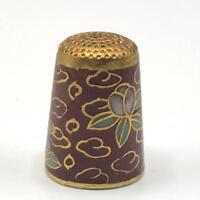 Vintage Sewing Thimble Cloisonne Enamel & Gold Bird Animal Figural
