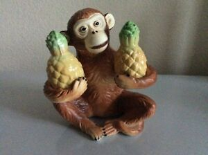 Vintage Monkey holding two pineapples Salt And Pepper Shakers From Japan