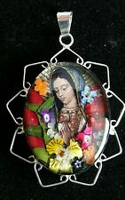 MEXICAN 925 STERLING SILVER  REAL FLOWERS CHRISTIAN/CATHOLIC VIRGIN NECKLACE