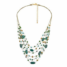 Vibrant Layers of Green Aventurine and Freshwater Pearl Statement Necklace