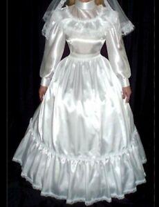 Satin  wedding dress, sissy TV/CD, play fun vintage style, size M/L