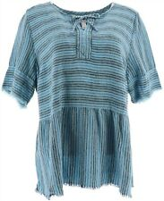 Denim & Co Striped Pullover Top Fringeing Blue 2X NEW A365274
