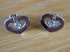 silver heart shaped with centre stone stud  stainless steel earring