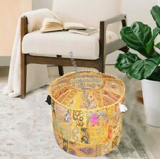 18'' Indian Patchwork Round Ottoman Pouf Cover Vintage Moroccan Footstool Cover